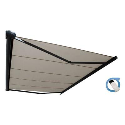 Store banne motorisé coffre intégral 5x3.5 m taupe - Structure grise anthracite - PROTECT OMBRAZUR