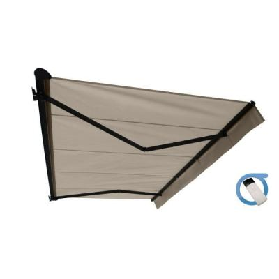 Store banne motorisé semi coffre 4x3 m taupe - Structure grise anthracite - COVER OMBRAZUR